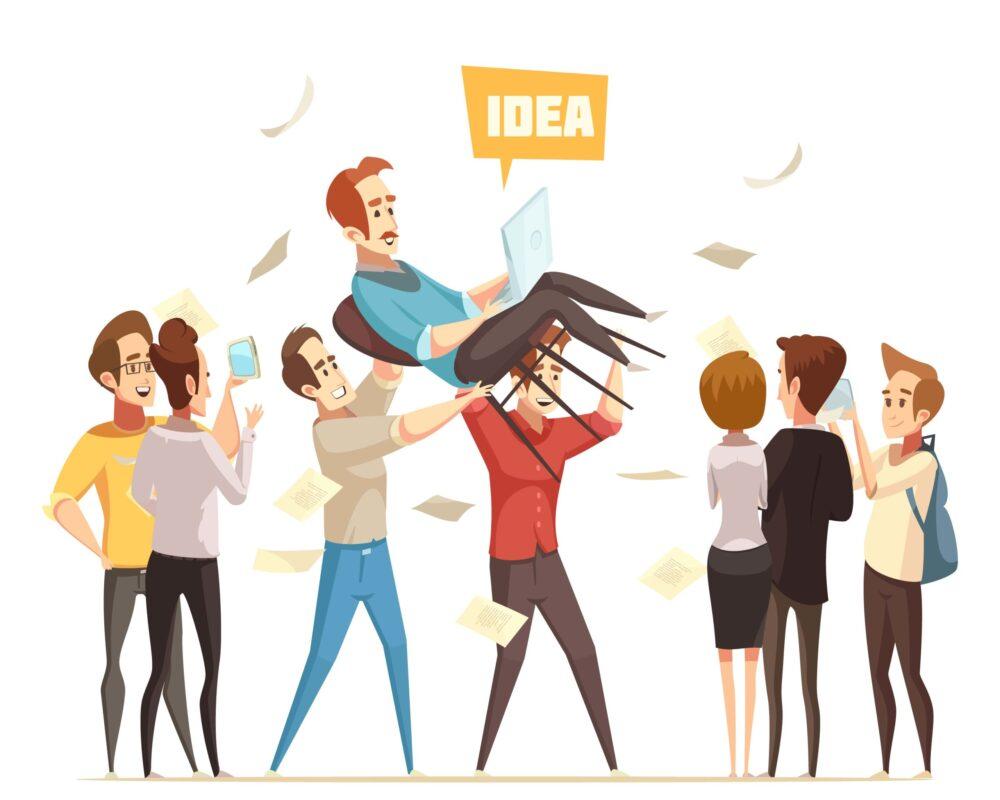 創業アイデアがある人を担いでいる