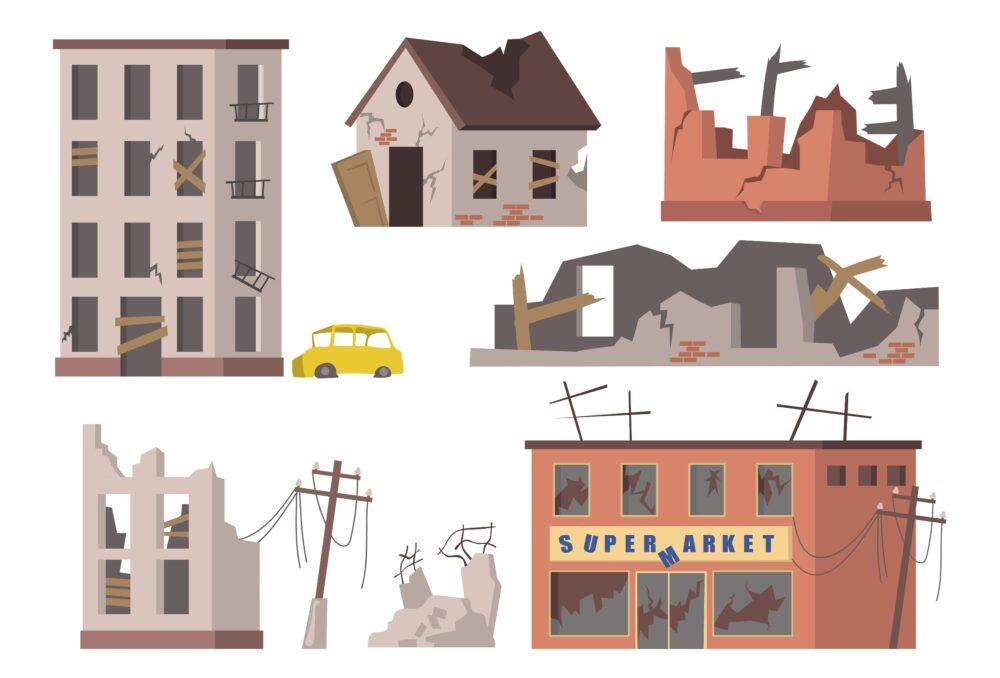 地震で倒壊した建物