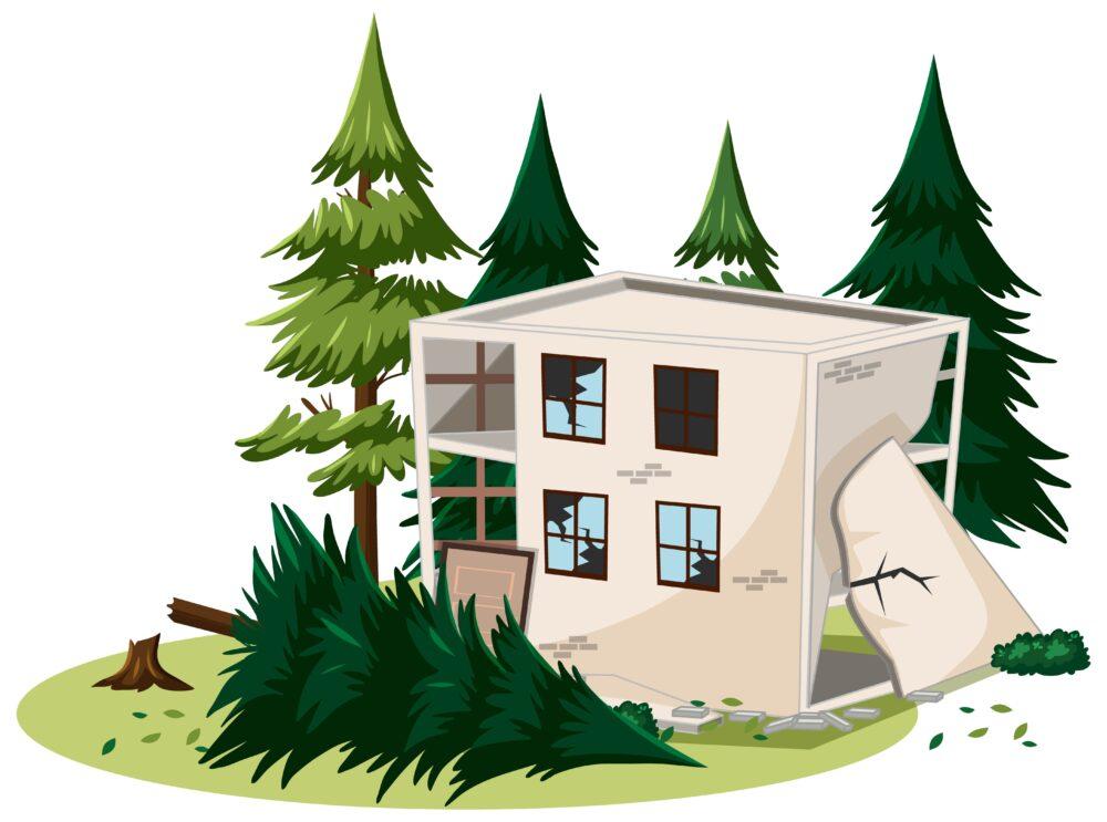 地震で倒壊した家と木