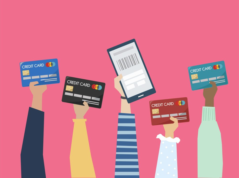 クレジットカードを振りかざしている人たち