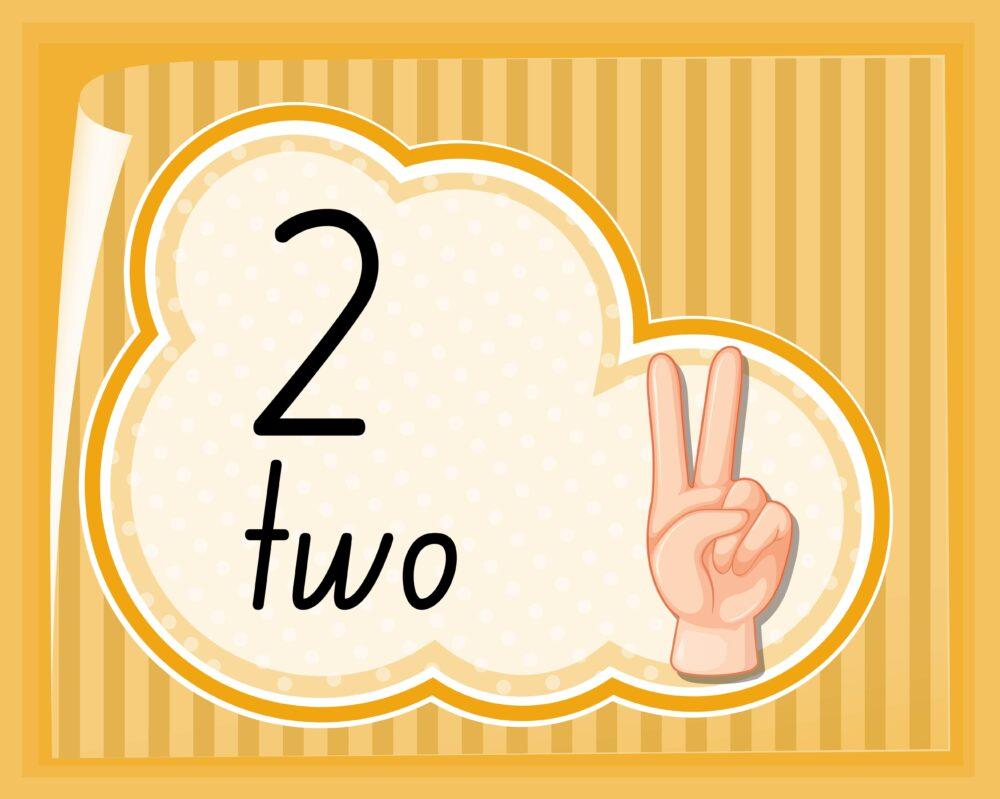 数字の2を表した手